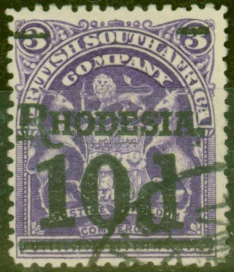 Old Postage Stamp from Rhodesia 1909 10d on 3s Dp Violet SG117 V.F.U
