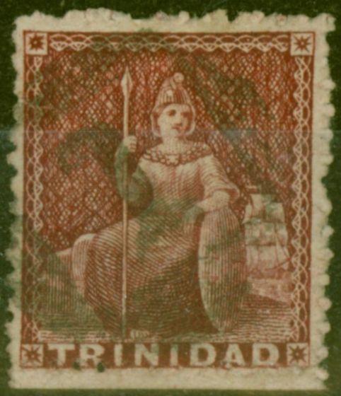 Old Postage Stamp from Trinidad 1863 Lake SG69a Wmk Sideways Fine Used
