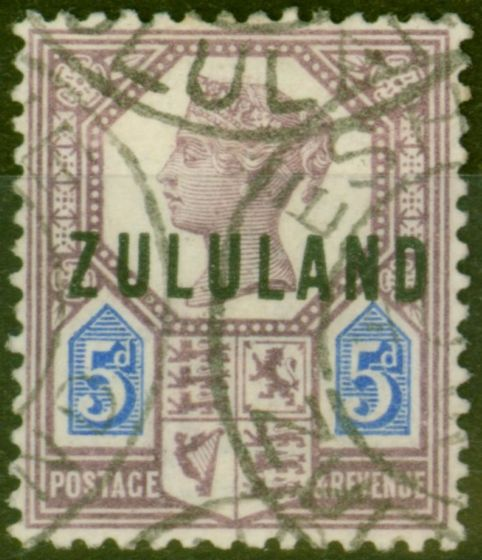 Valuable Postage Stamp from Zululand 1893 5d Dull Purple & Blue SG7 Fine Used