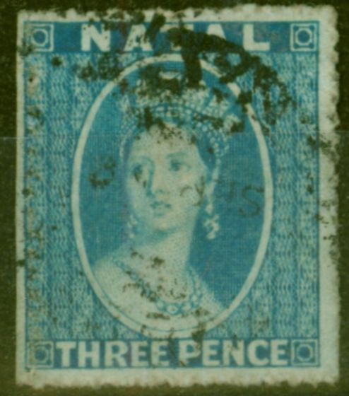 Rare Postage Stamp from Natal 1861 3d Blue SG12 Fine Used