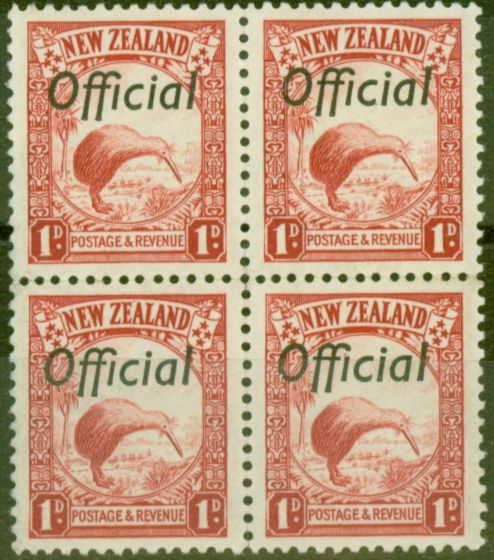 Collectible Postage Stamp from New Zealand 1936 1d Scarlet SG0115 V.F MNH Block of 4