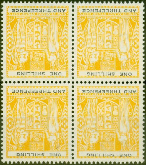 Rare Postage Stamp from New Zealand 1956 1s3d Yellow-Black SGF217w Wmk Inverted V.F MNH Block of 4