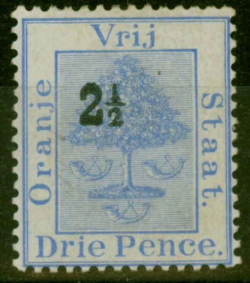 Valuable Postage Stamp from Orange Free State 1897 2 1/2d on 3d Ultram SG82a Roman 1 & Antique 2 in Fraction Good Mtd Mint