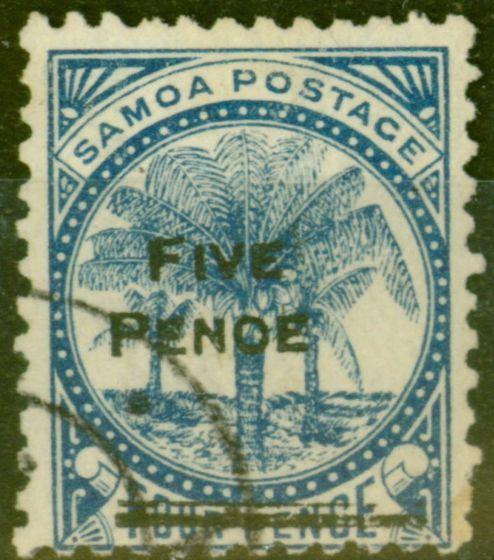 Valuable Postage Stamp from Samoa 1893 5d on 4d Blue SG67var PENOE Error Fine Used Un-listed Rare