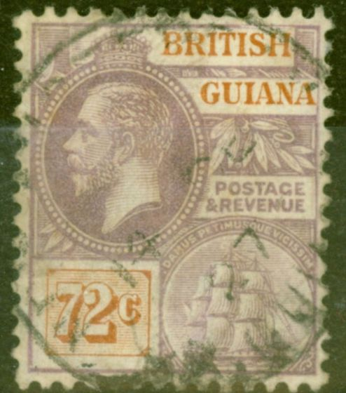 Valuable Postage Stamp from British Guiana 1923 72c Dull Purple & Orange-Brown SG181 Fine Used