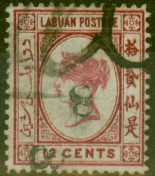 Old Postage Stamp from Labuan 1880 8c on 12c Carmine SG13b Upright 8 Inverted Fine Used Example Rare