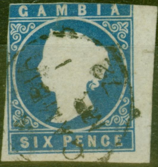 Valuable Postage Stamp from Gambia 1869 6d Blue SG3a Good Used