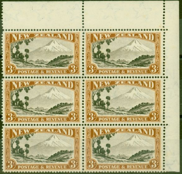 Old Postage Stamp from New Zealand 1942 3s Chocolate & Yellow-Brown SG590cvar Major Re-Entry CP L14g V.F MNH Block of 6