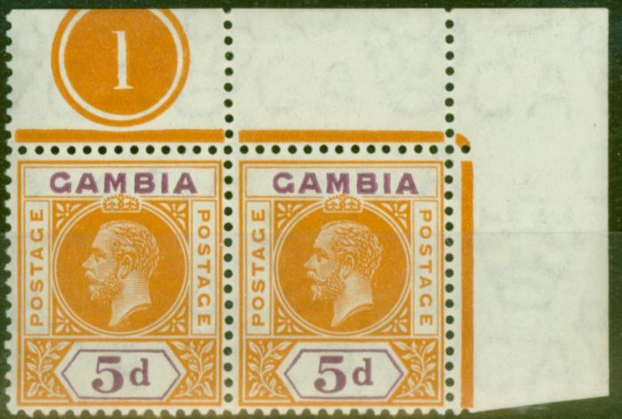 Old Postage Stamp from Gambia 1912 5d Orange & Purple SG93var Nick in B in a V.F MNH Pl 1 Pair