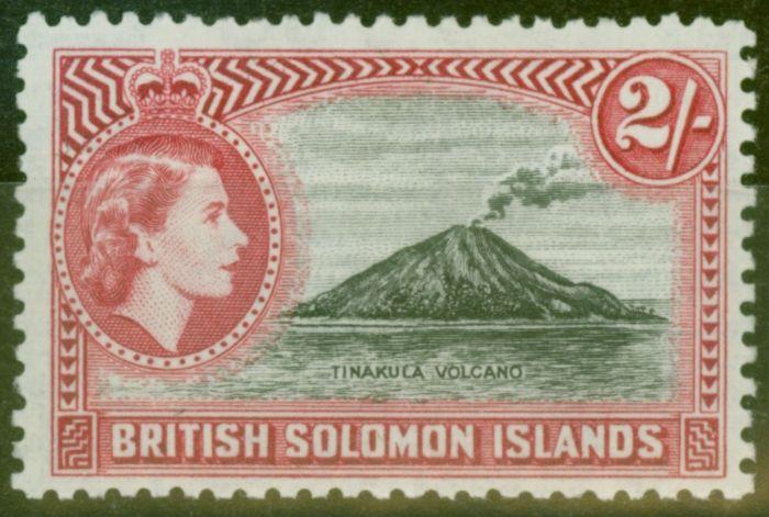 Rare Postage Stamp from Solomon Islands 1956 2s Black & Carmine SG92 V.F MNH