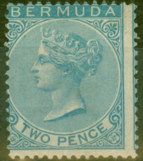 Old Postage Stamp from Bermuda 1866 2d Dull Blue SG3 Fine Mtd Mint