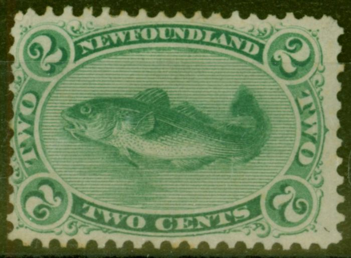 Old Postage Stamp from Newfoundland 1865 2c Yellowish Green SG25 Fine Mtd Mint