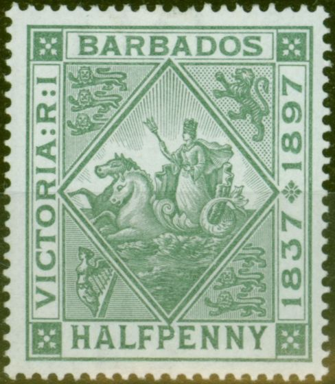 Collectible Postage Stamp from Barbados 1897 1/2d Dull Green SG117 Fine & Fresh Lightly Mtd Mint