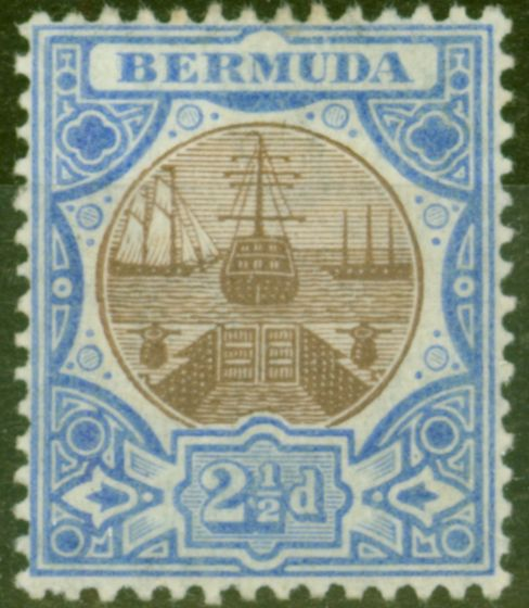 Old Postage Stamp from Bermuda 1906 2 1/2d Brown & Ultramarine SG40 Fine Mtd Mint