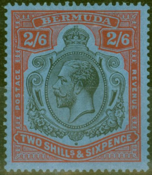 Rare Postage Stamp from Bermuda 1929 2s6d Black & Red-Blue SG89a Fine Mtd Mint