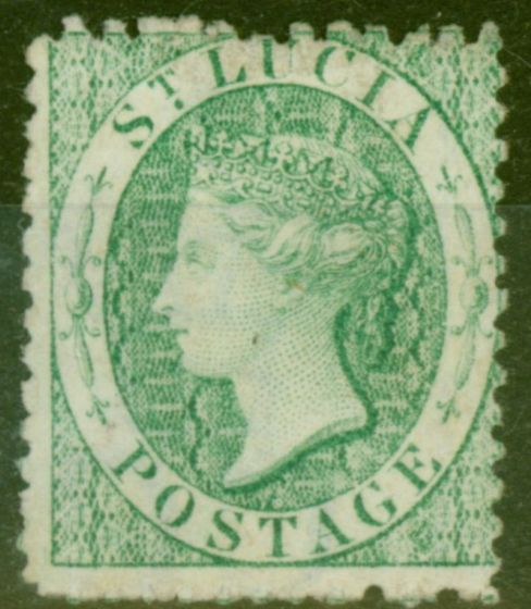 Rare Postage Stamp from St Lucia 1863 (6d) Emerald-Green SG8x Wmk Reversed Fine Mtd Mint