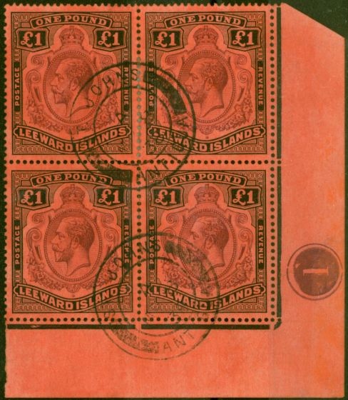Valuable Postage Stamp from Leeward Islands 1928 £1 Purple & Black-Red SG80 Superb Used Pl 1 Corner Block of 4 Very Rare Multiple