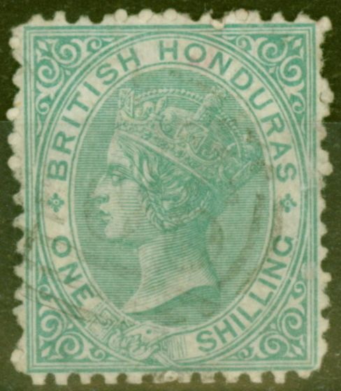 Valuable Postage Stamp from British Honduras 1872 1s Green SG10 P.12.5 Fine Used