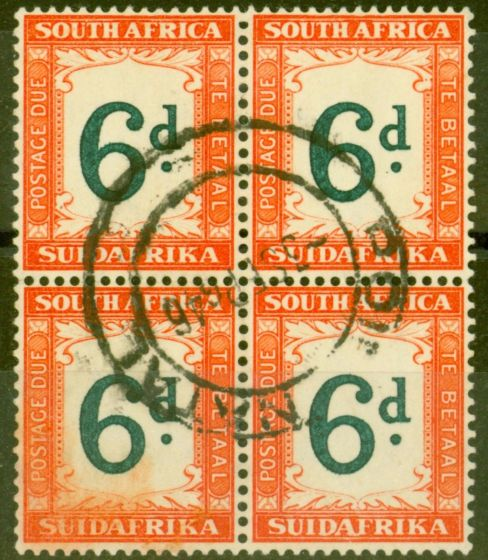 Collectible Postage Stamp from South Africa 1938 6d Green & Brt Orange SGD29a V.F.U Block of 4