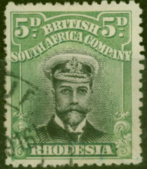 Collectible Postage Stamp from Rhodesia 1913 5d Black & Grey-Green SG226 Die II Fine Used