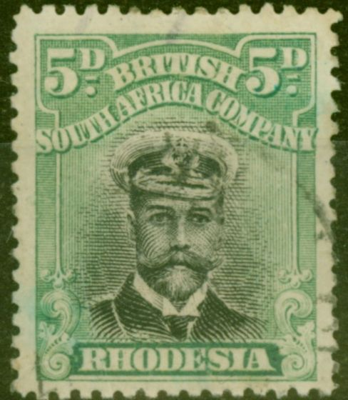 Collectible Postage Stamp from Rhodesia 1913 5d Black & Grey-Green SG226 Die II Good Used