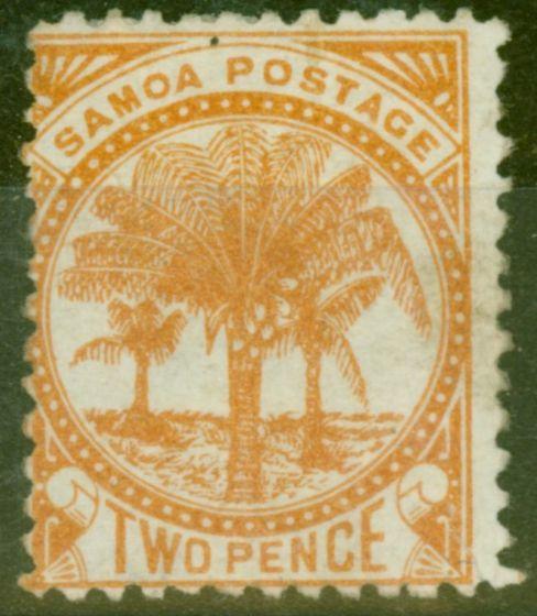 Rare Postage Stamp from Samoa 1886 2d Dull Orange SG23 Fine Mtd Mint