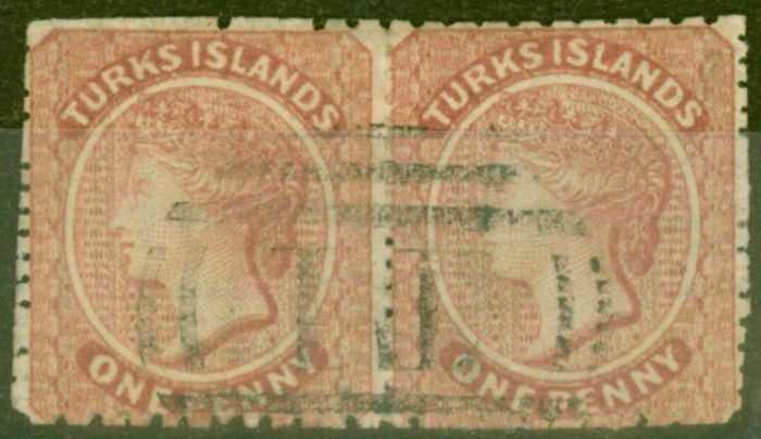 Old Postage Stamp from Turks & Caicos Is 1879 1d Dull Red SG5 P.11-12.5 x 14.5-15.5 Fine Used Pair