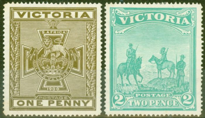 Rare Postage Stamp from Victoria 1900 Boer War Patriotic Fund set of 2 SG374-375 Fine & Fresh Mtd Mint
