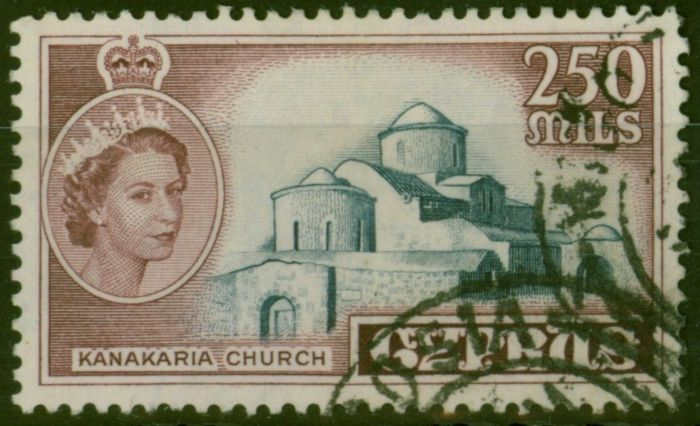 Collectible Postage Stamp from Cyprus 1955 250m Dp Grey-Blue & Brown SG185 Fine Used