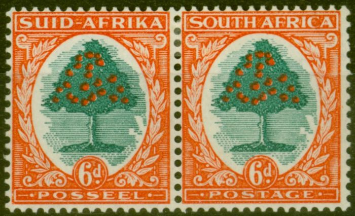 Collectible Postage Stamp from South Africa 1937 6d Green & Vermilion SG61 Die I Fine Mtd Mint