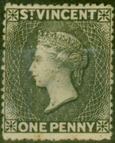 Collectible Postage Stamp from St Vincent 1872 1d Black SG18a P.15  Wmk Upright Fine Mtd Mint