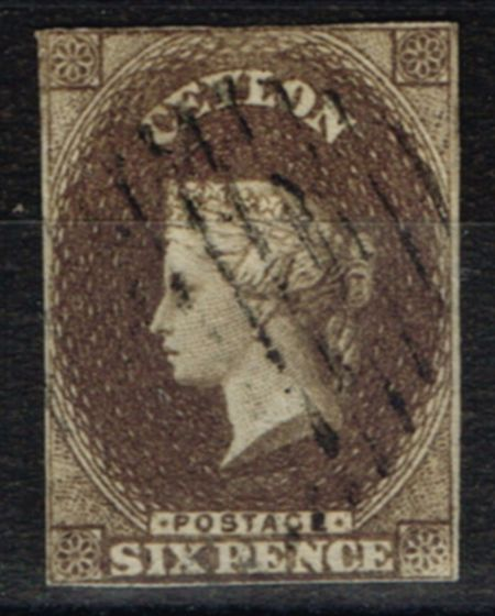 Rare Postage Stamp from Ceylon 1859 6d Brown SG6a Fine Used