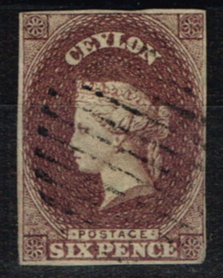 Valuable Postage Stamp from Ceylon 1859 6d Purple Brown SG6 Fine Used
