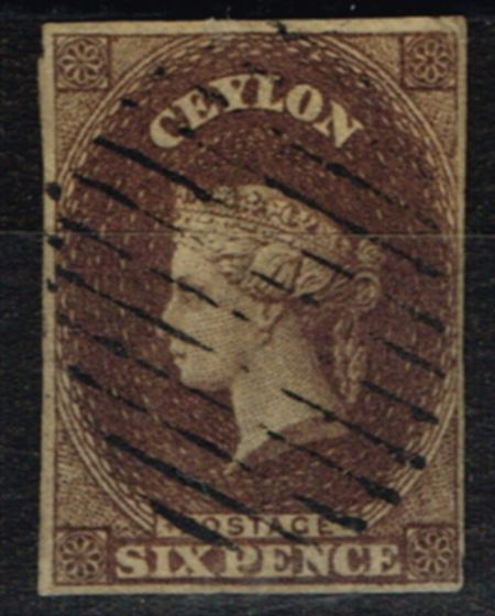 Collectible Postage Stamp from Ceylon 1859 6d Dp Brown SG6b V.F.U