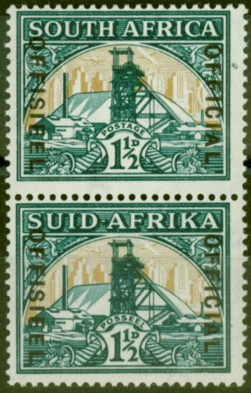 Rare Postage Stamp from South Africa 1937 1 1/2d Green & Brt Gold SG022 Wmk Inverted V.F Pair