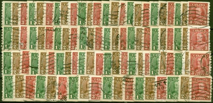 Collectible Postage Stamp from Canada 1935 Coil set of 3 SG352-354 Fine Used Sets x 30 CV £630 Bargain price