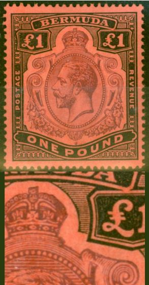 Collectible Postage Stamp from Bermuda 1918 £1 Purple & Black-Red SG55bvar Broken Crown & Scroll Repaired Rare