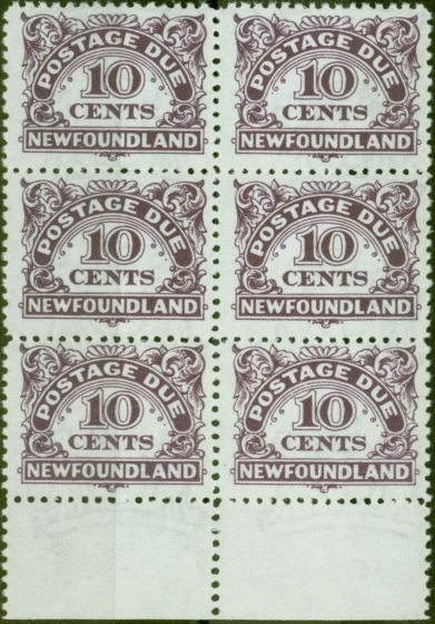 Collectible Postage Stamp from Newfoundland 1949 10c Violet SGD6a With Wmk V.F MNH Block of 6