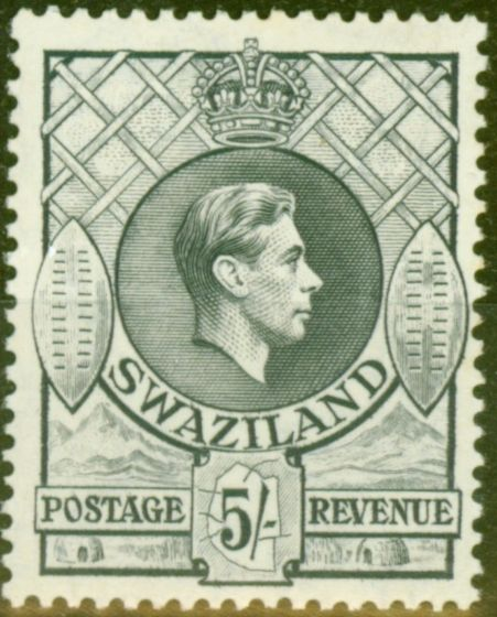 Collectible Postage Stamp from Swaziland 1938 5s Grey SG37 Fine Lightly Mtd Mint