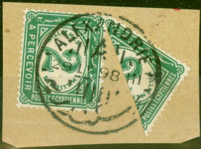Old Postage Stamp from Egypt 1898 2m Green Bisected on Piece with Normal SGD71a Fine Used (2)