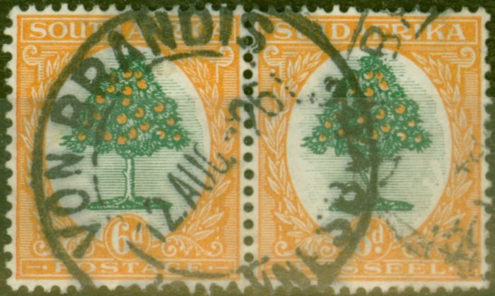 Valuable Postage Stamp from South Africa 1926 6d Green & Orange SG32 Good Used