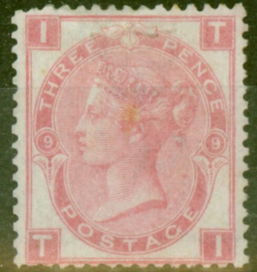 Rare Postage Stamp from GB 1876 3d Rose SG103 Pl 9 Fine Lightly Mtd Mint