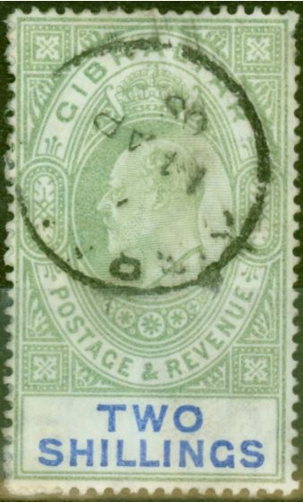 Valuable Postage Stamp from Gibraltar 1903 2s Green & Blue SG52 Good Used (2)
