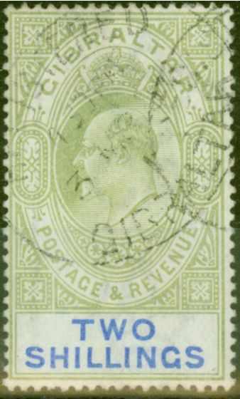 Old Postage Stamp from Gibraltar 1903 2s Green & Blue SG52 Good Used (3)