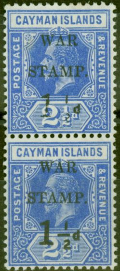 Valuable Postage Stamp from Cayman Islands 1917 1 1/2d on 2 1/2d Dp Blue SG54a No Fraction Bar in Pair with Normal Fine Lightly Mtd Mint