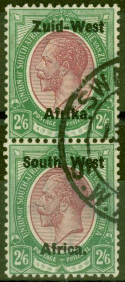 Collectible Postage Stamp from S.W.A 1923 2s6d Purple & Green SG9 Setting I V.F.U Vert Pair