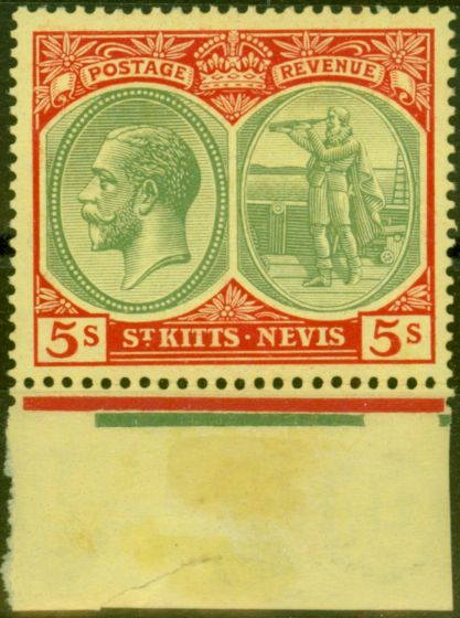 Old Postage Stamp from St Kitts 1929 5s Green & Red-Yellow SG47c V.F MNH