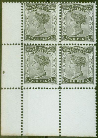 Valuable Postage Stamp from Prince Edward Is 1870 4d Black SG31 Fine MNH Corner Block of 4