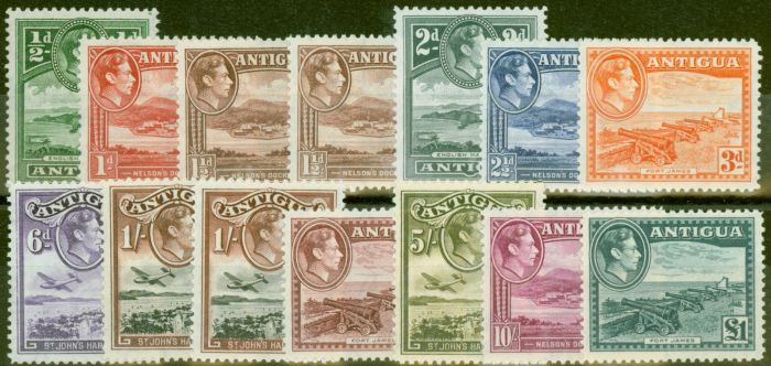 Collectible Postage Stamp from Antigua 1938-49 set of 13 SG98-109 V.F MNH