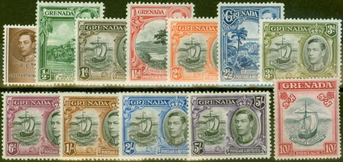 Old Postage Stamp from Grenada 1938 set of 12 SG153-163a V.F Very Lightly Mtd Mint